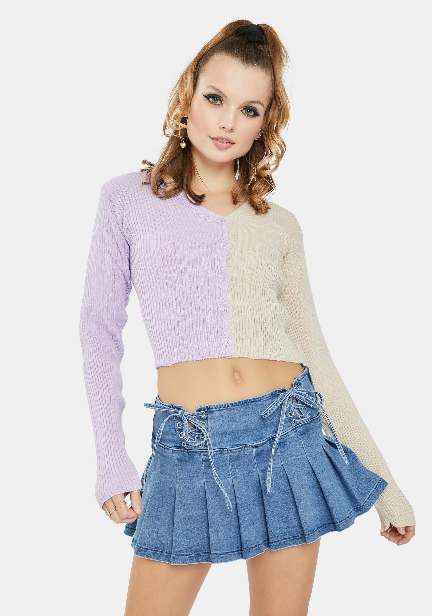 Daisy Street Lilac 90's Split Color Cropped Cardigan