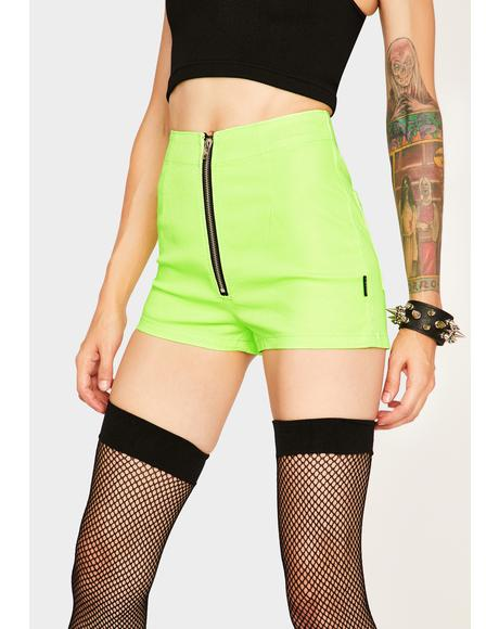 Neon Lime Zip Shorts