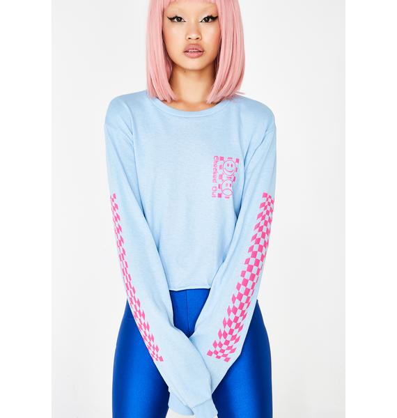 Valley High Checked Out Long Sleeve Crop