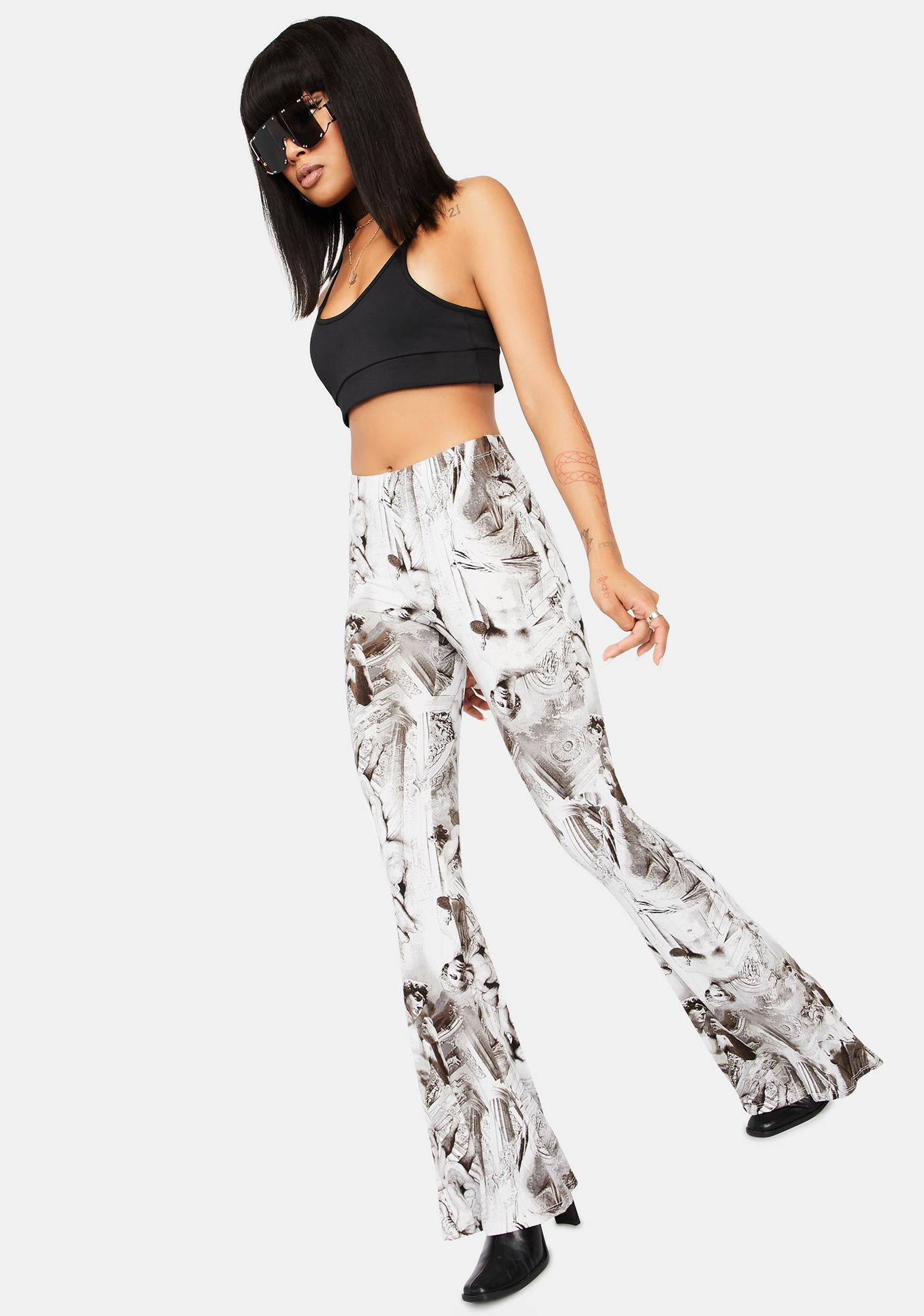 When In Rome Statue Print Flare Pants