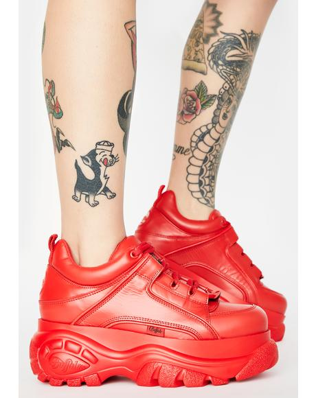 Red Classic Low Leather Sneakers