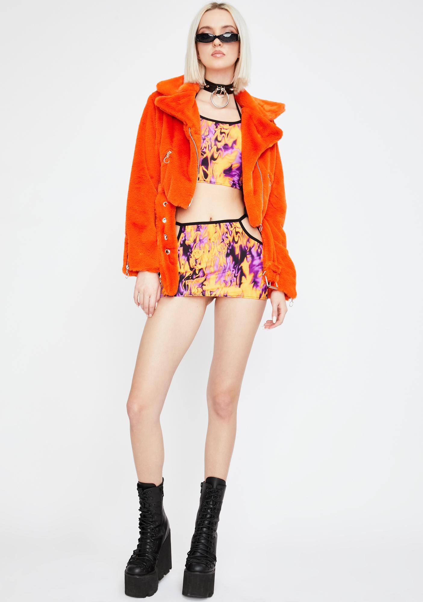 Shay Kawaii Psychedelic Skirt Set
