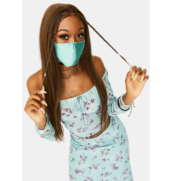 Teal Soft Vibes Satin Face Mask
