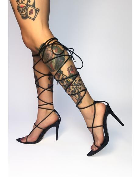 Black Nappa Lace Up Heels
