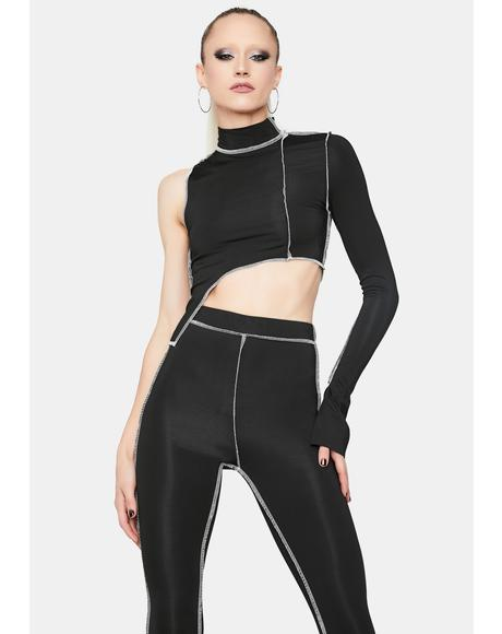 Night New Futurism Contrast Stitch Pant Set