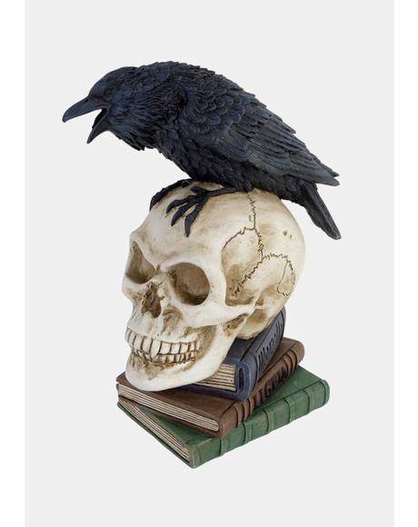 Poe's Raven Skull Statue
