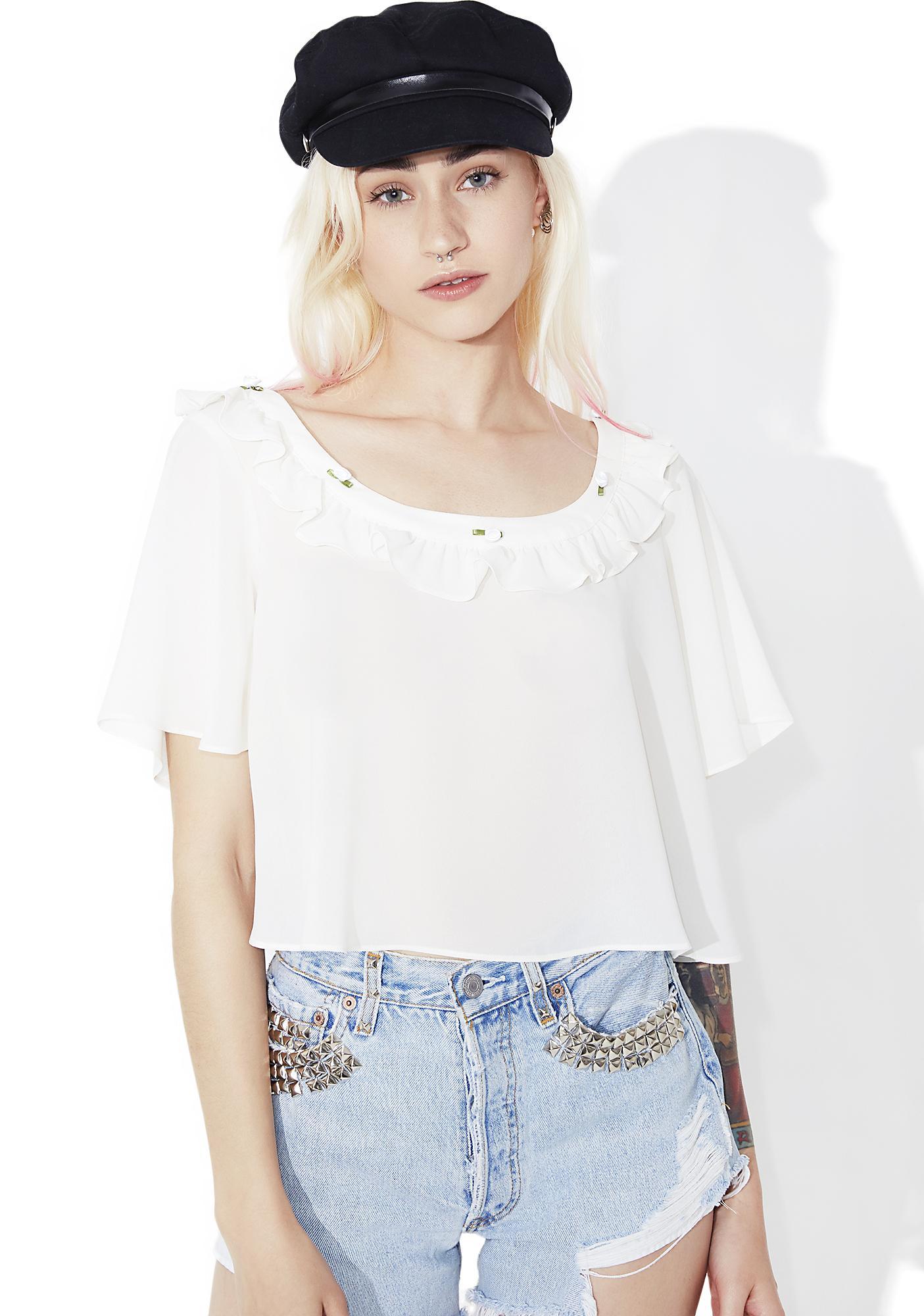 For Love & Lemons Ivory Little Rosette Sleep Shirt