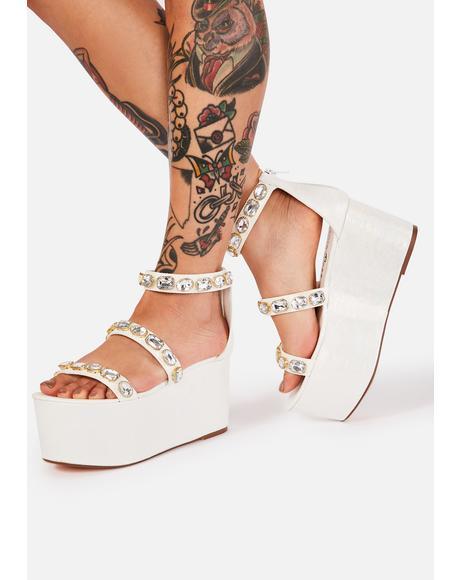 White Paloona Platform Sandals