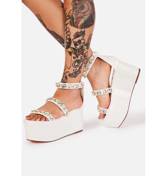 Lemon Drop by Privileged White Paloona Platform Sandals