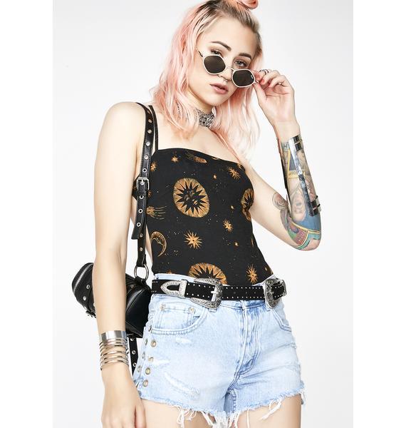 Neon Blonde Lover Eyelet Denim Shorts