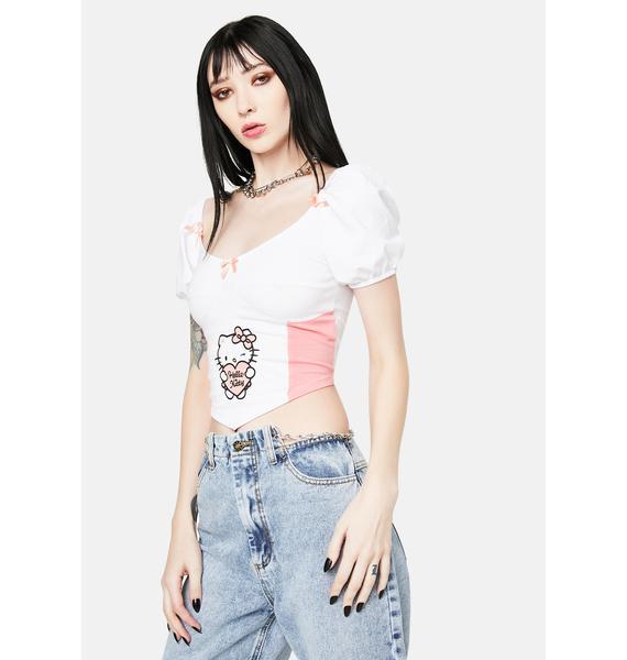 NEW GIRL ORDER Hello Kitty Seamed Corset Top