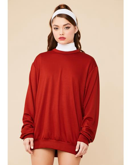 Rust Easy Going Mini Sweatshirt Dress