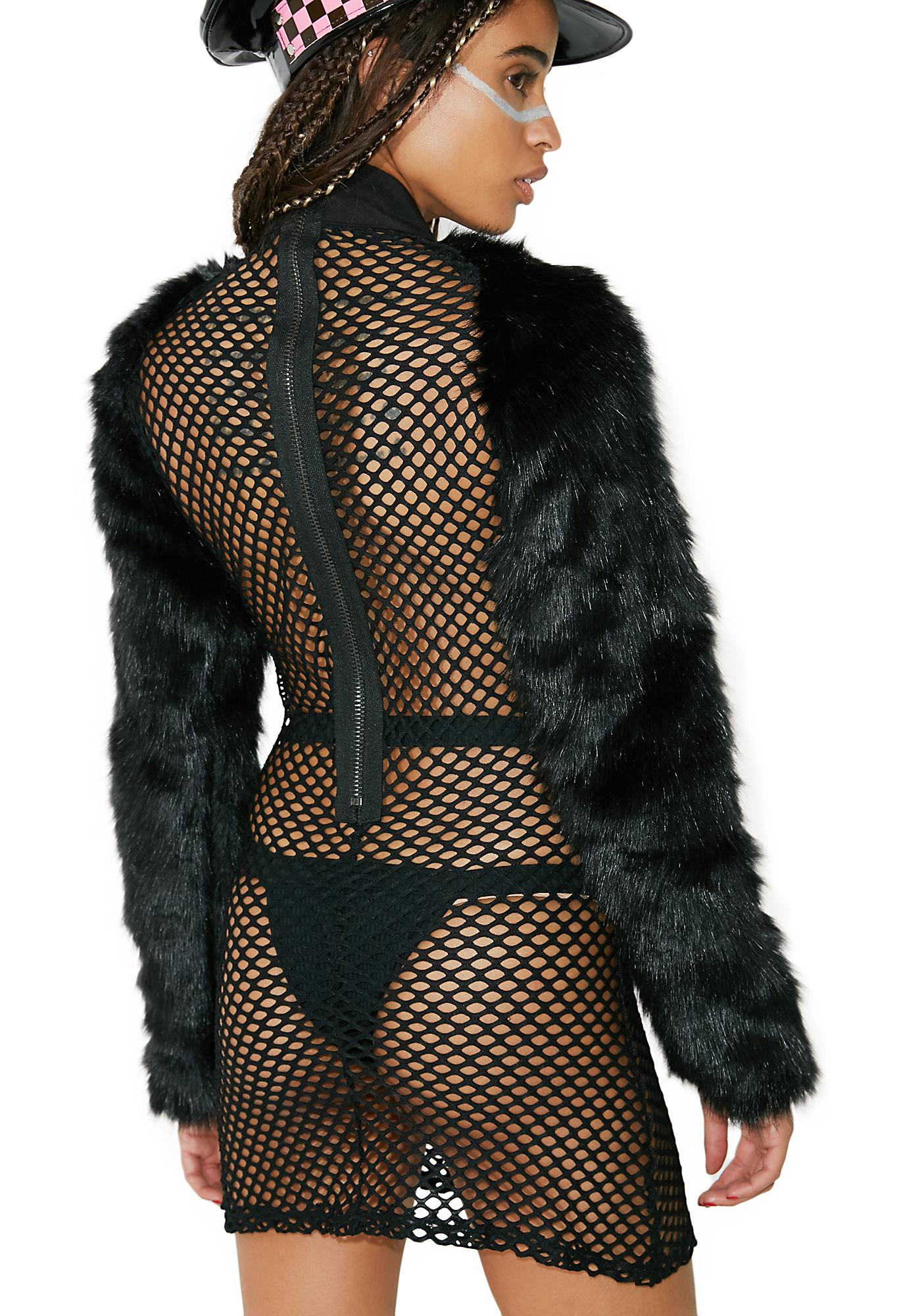 Club Exx Burn Baby Fur Sleeve Dress