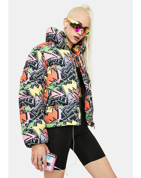 80s Geo Print Puffer Jacket