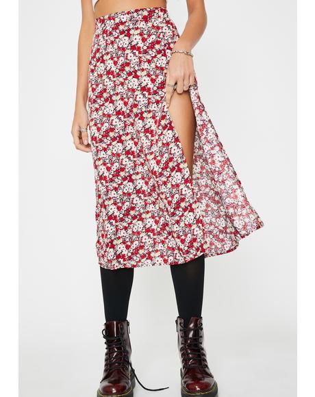 Red Floral Saika Skirt
