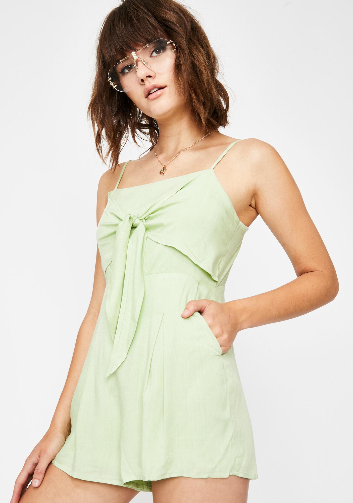 4a905a83d541 Romper Tie Front Cami Green