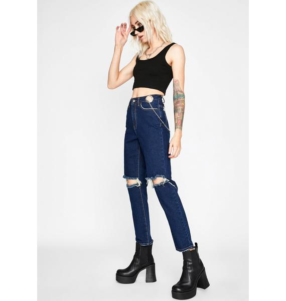 Punk Actions Chained Jeans