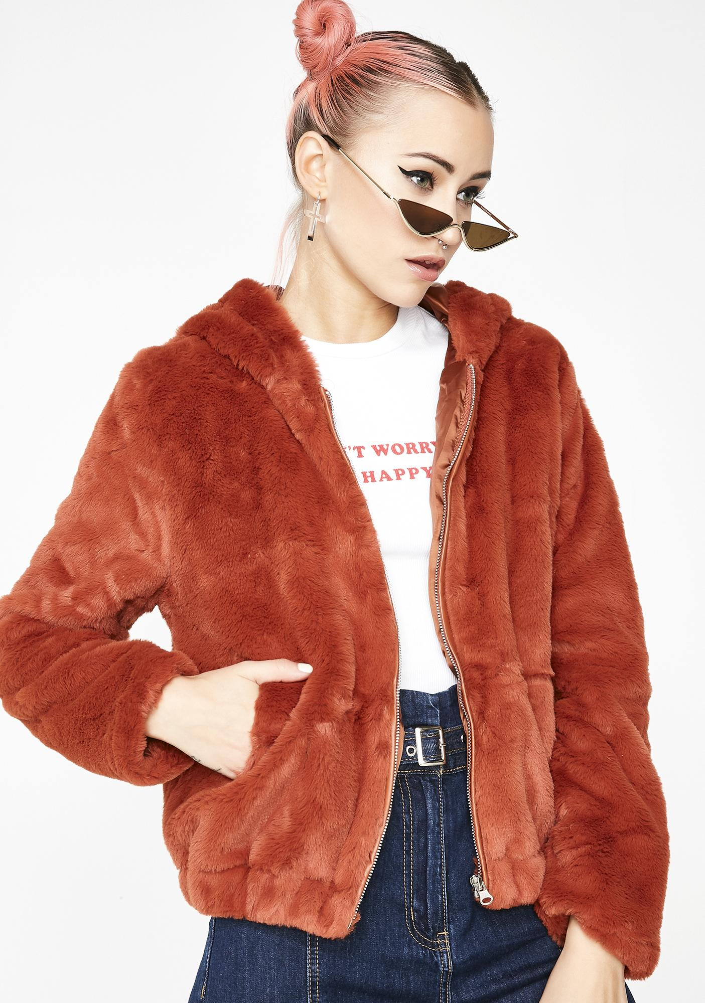 Rust Cuddle Buddy Fuzzy Jacket