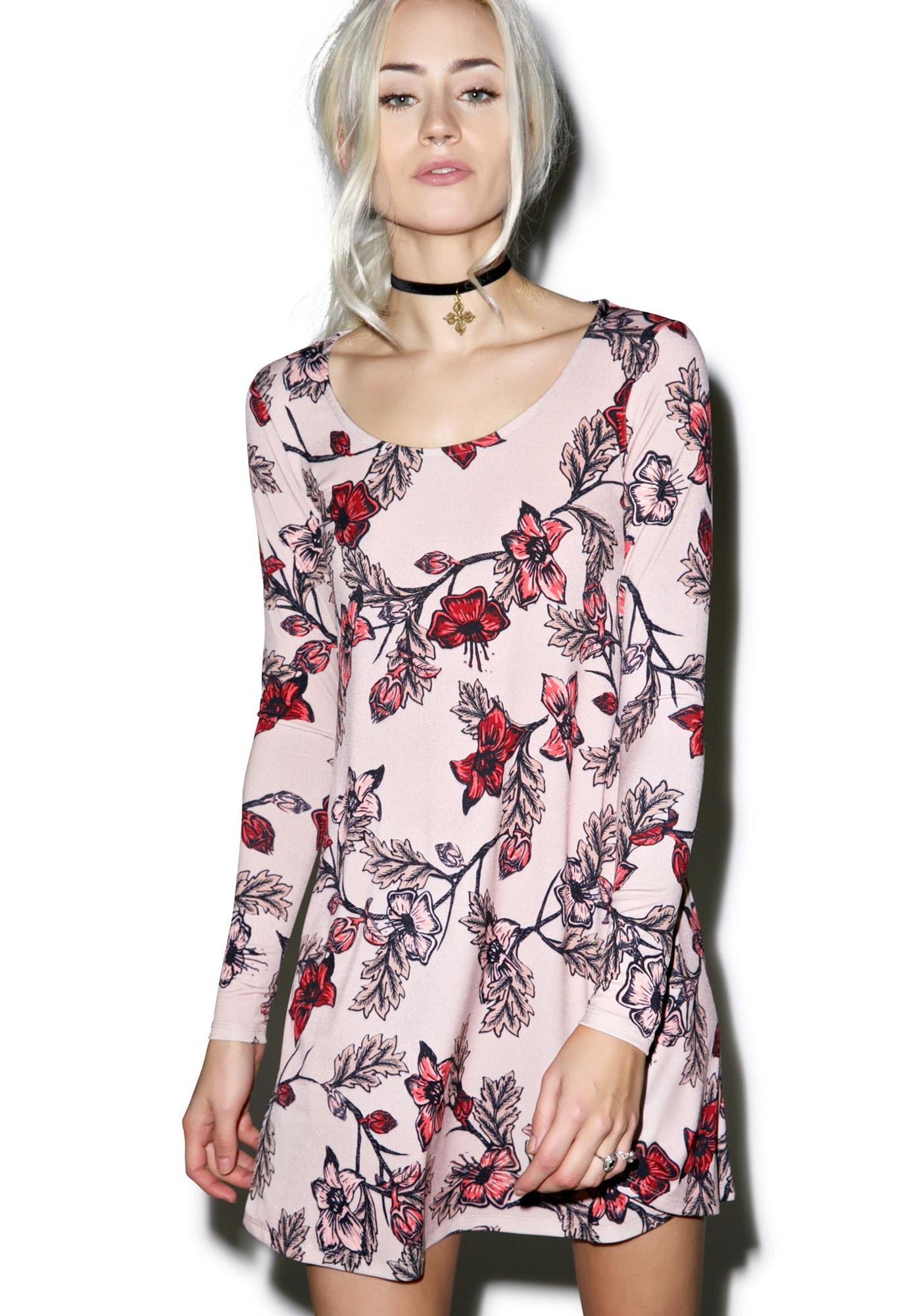 For Love & Lemons Blush Ojai Mini Dress