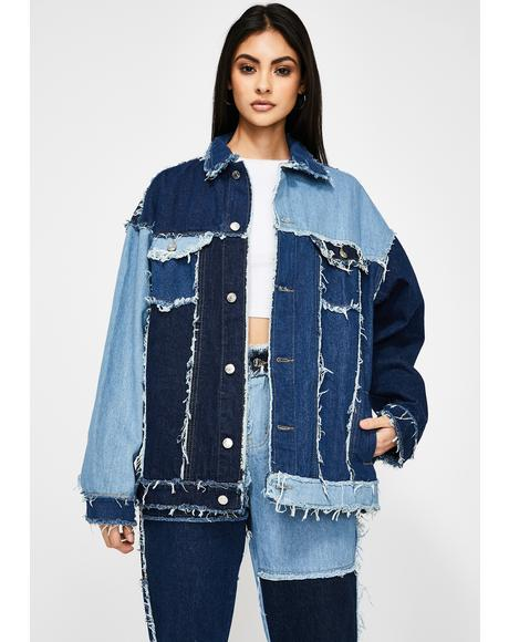 Oversized Patchwork Denim Jacket