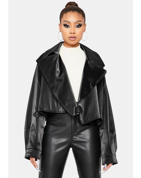 Glam Check Patent Crop Jacket