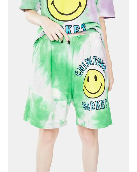 Smiley Multi Tie Dye Sweatshorts
