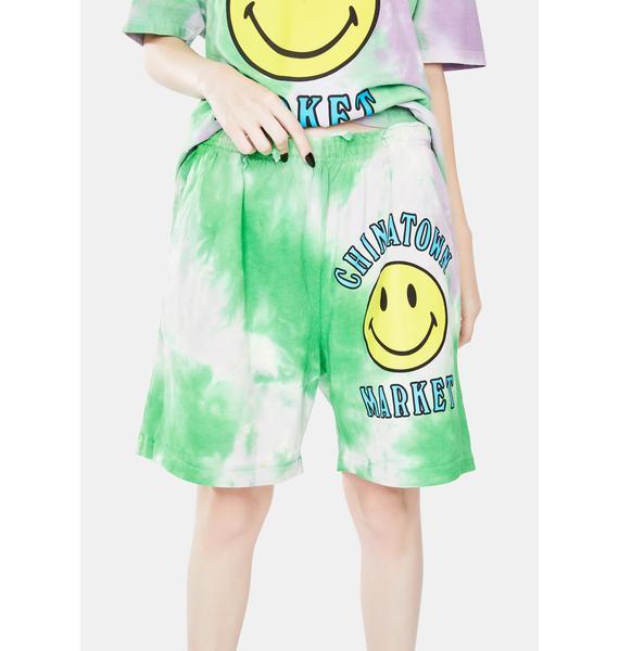 CHINATOWN MARKET Smiley Multi Tie Dye Sweatshorts
