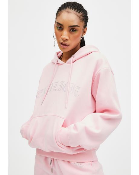 Pink Explicit Rhinestone Hoodie
