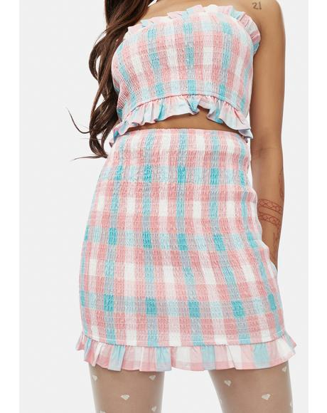 Do I Know U Plaid Ruffle Skirt
