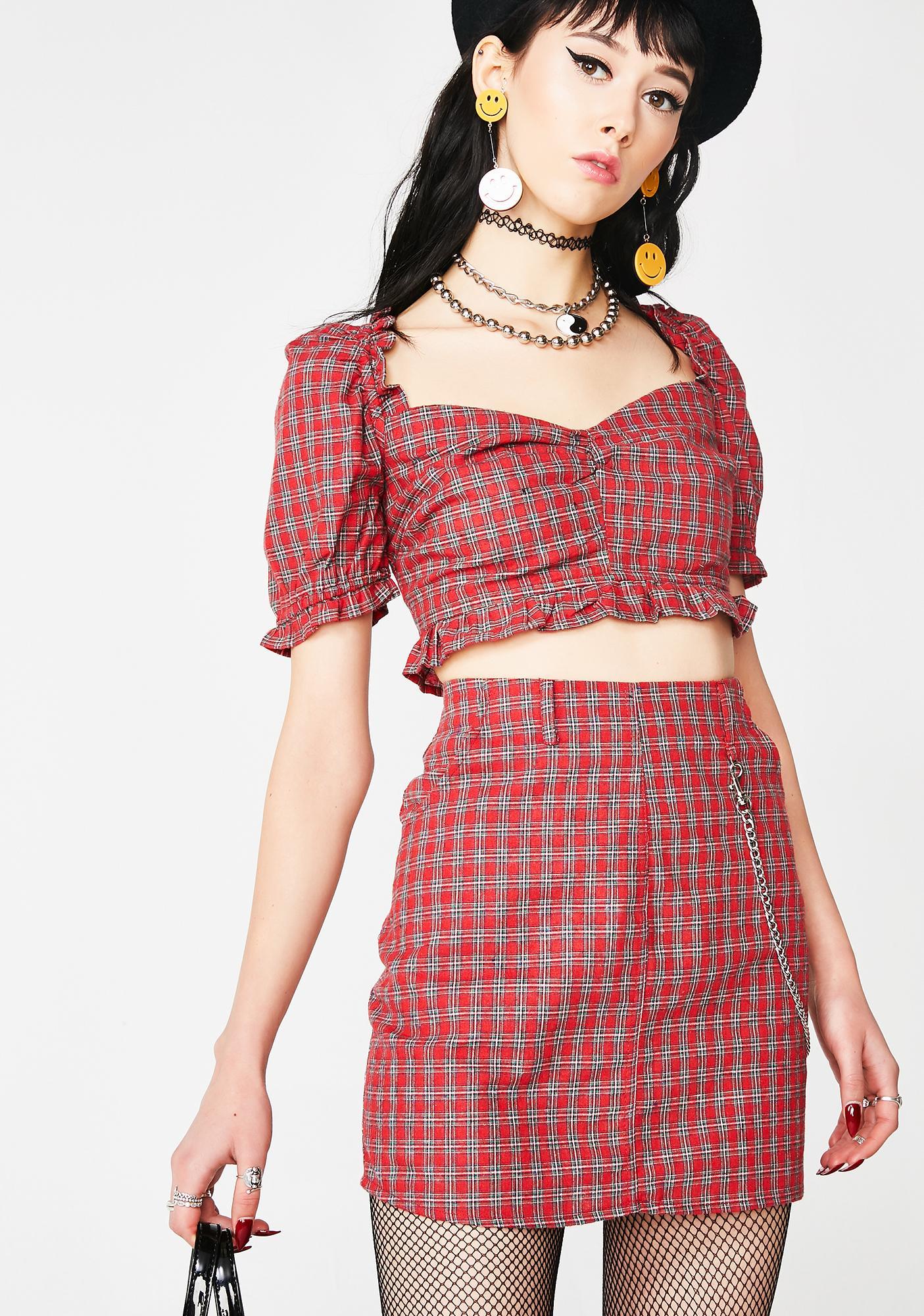Cherry Love Lies Plaid Skirt