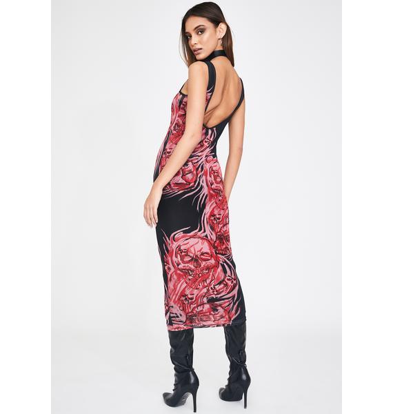 Jaded London Double Layer Mesh Skull Print Midi Dress
