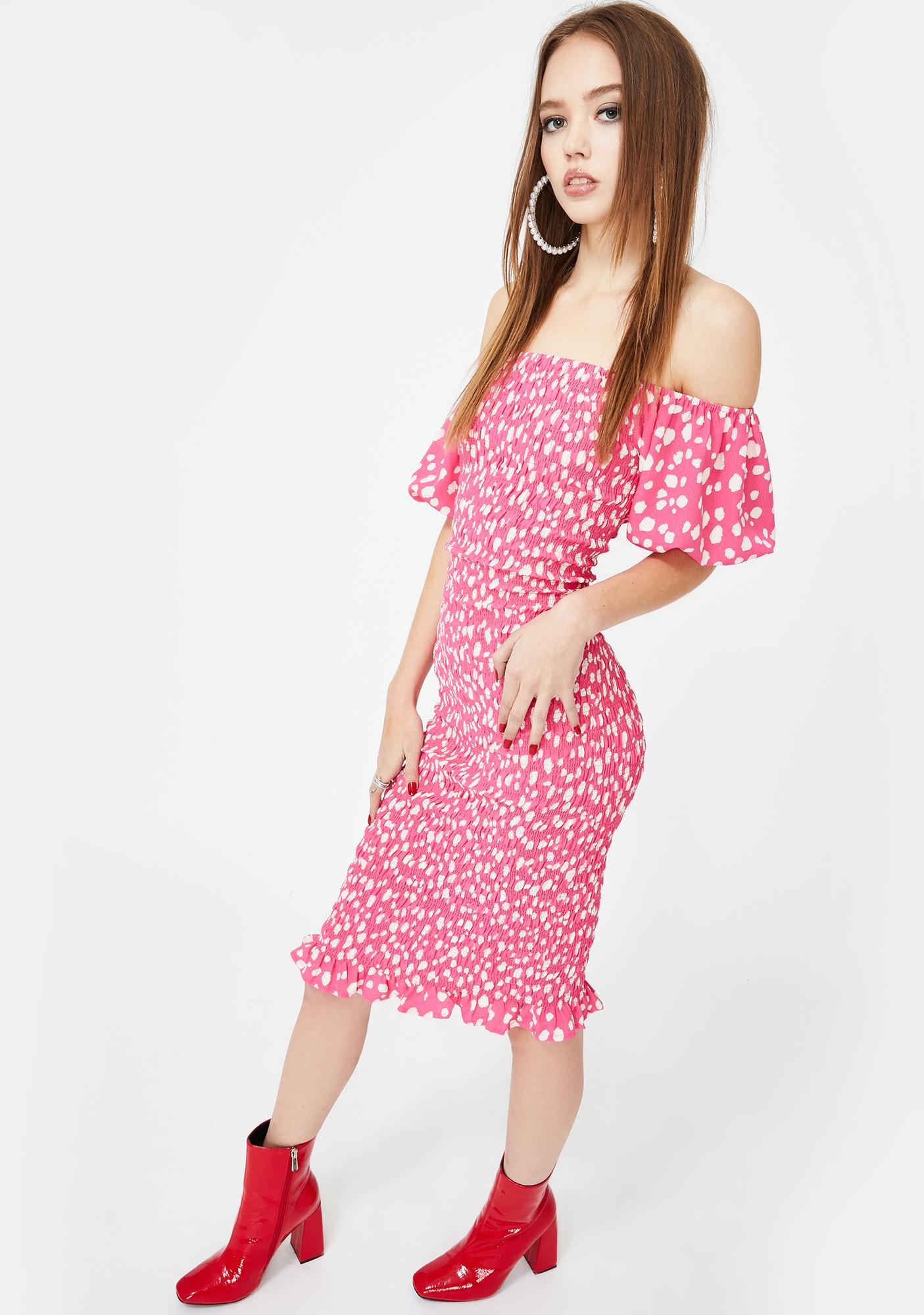 Glamorous Pink Spot Leopard Smocked Dress