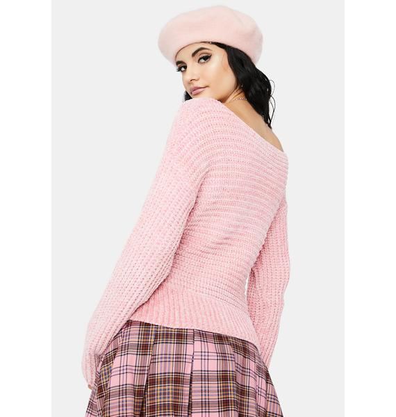Rose Dripped In Bliss Knit Sweater