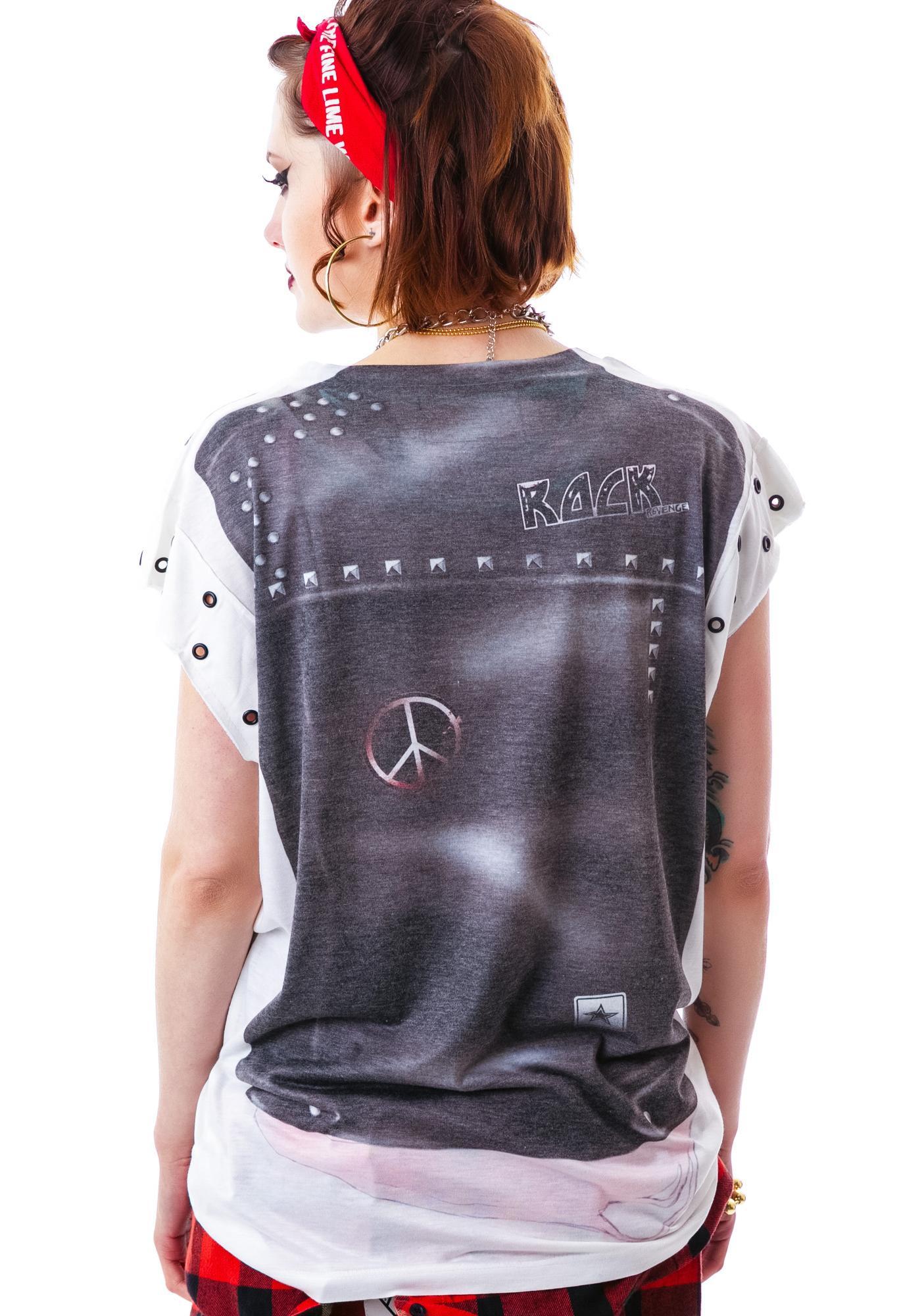 Crass Studded Moto Vest Tee