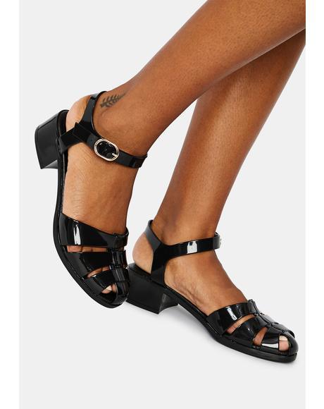 Black Bremerton Jelly Sandals