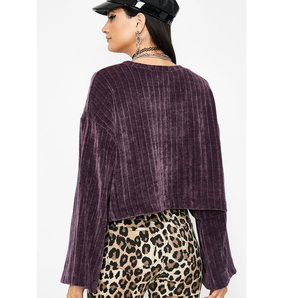Grape Cozie Cutie Chenille Sweater