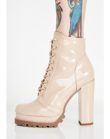 Nude Sassy Stepper Lace-Up Boots