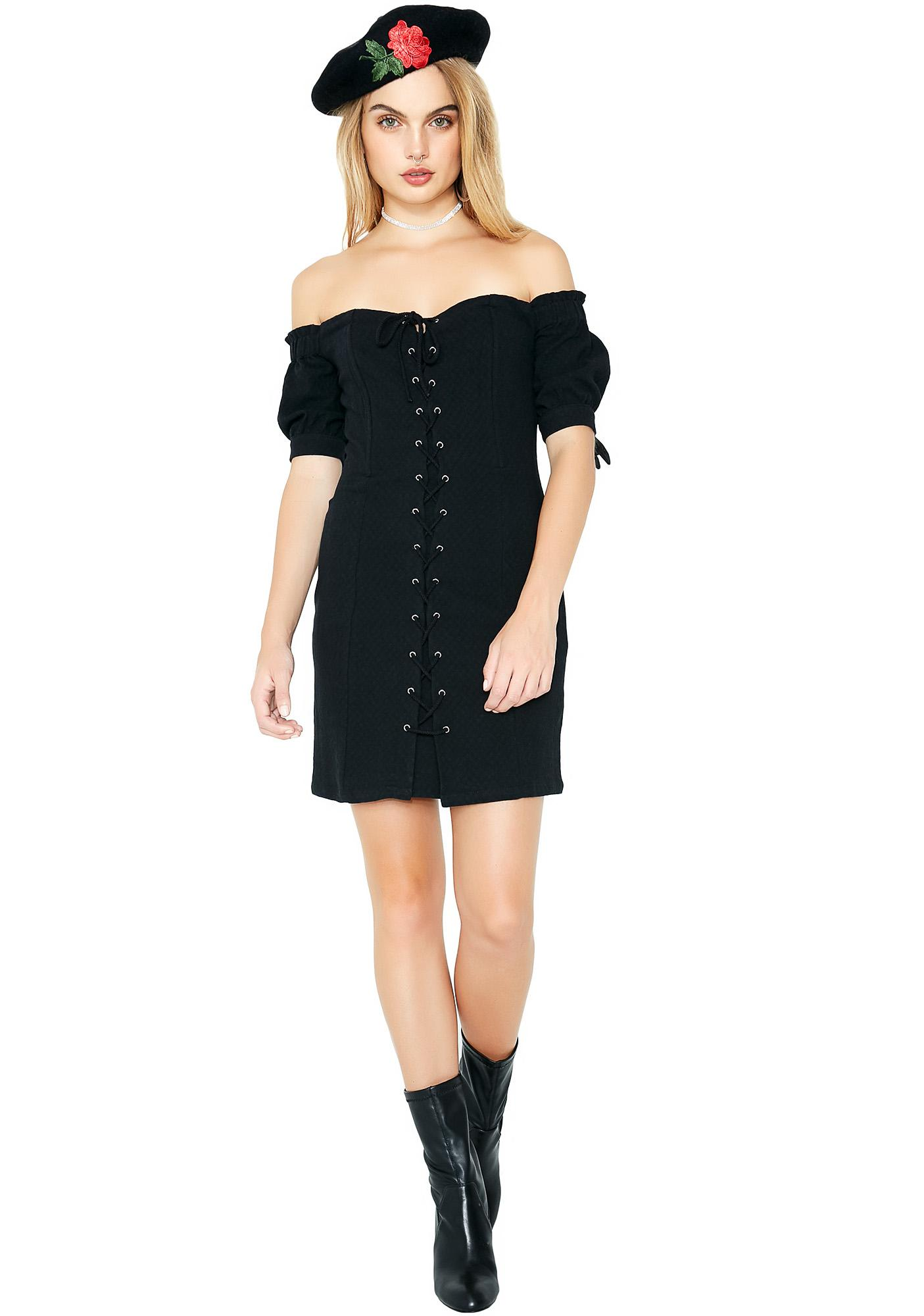Lost For Words Lace-Up Dress