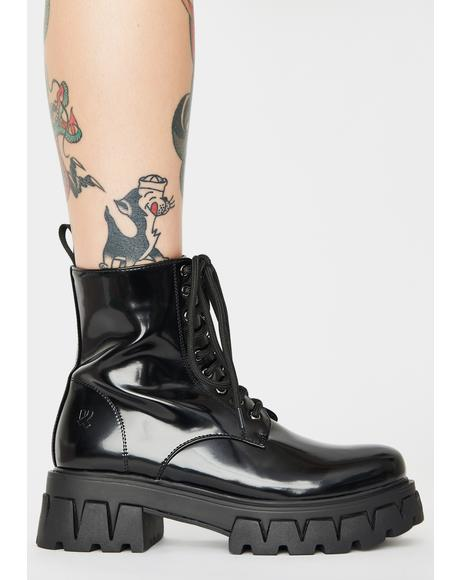 Bright Shadow Patent Boots