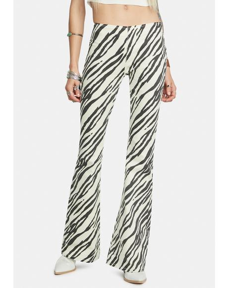 Zebra Penny Pull-On Flare Jeans