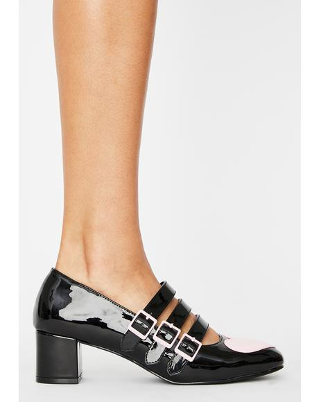 Black Patent Heart Block Heels
