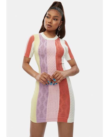Raise Ur Glass Striped Bodycon Dress