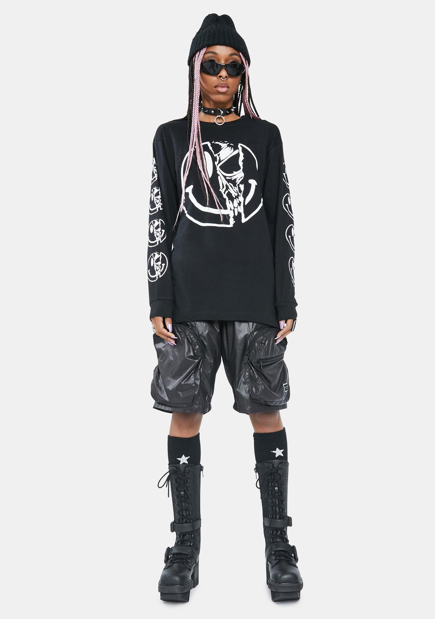 Long Clothing Killer Smiley Long Sleeve Graphic Tee
