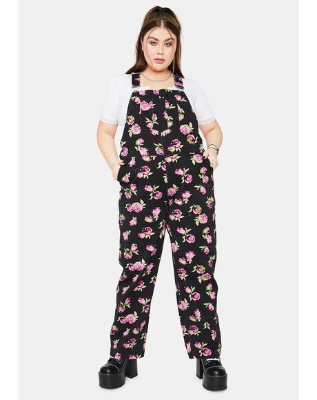She's Lost In Yesterday Floral Overalls
