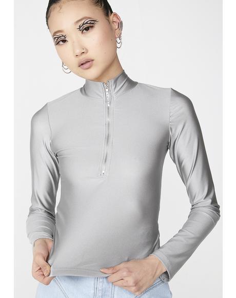Spandex Zipper Long Sleeve Crop