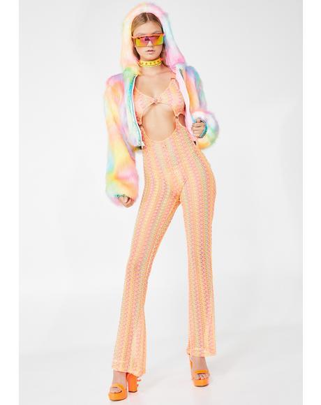 Fluorescent Wind Crochet Jumpsuit