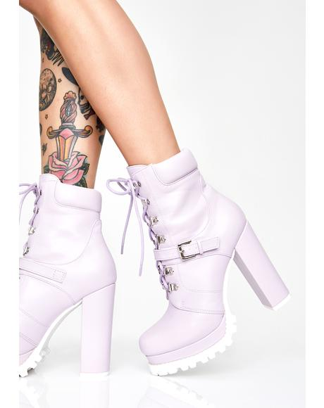 Lilac Match My Drip Combat Booties
