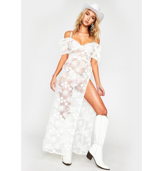 For Love & Lemons Crochet Daisy Cover Up Maxi Dress