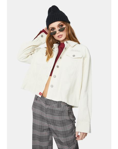 Cream Corduroy Crop Raw Hem Jacket