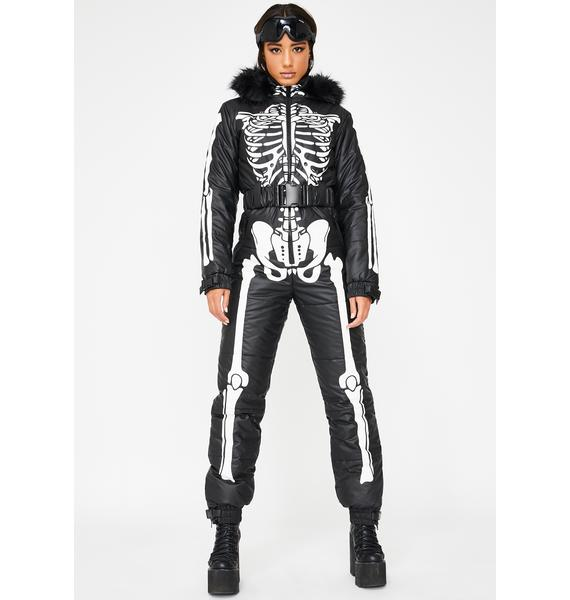 Dolls Kill Cold Prey Skeleton Snowsuit